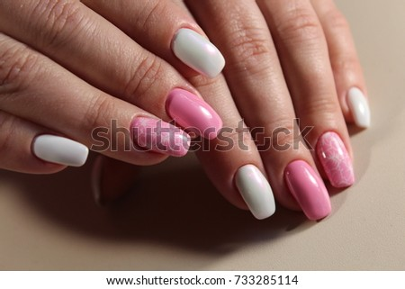 Cute design of manicure Pink and white color