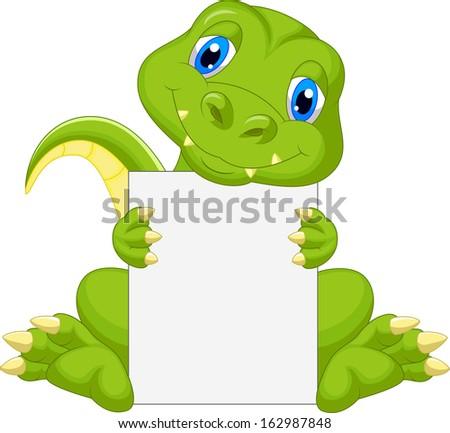 Cute dinosaur cartoon holding blank sign - stock photo