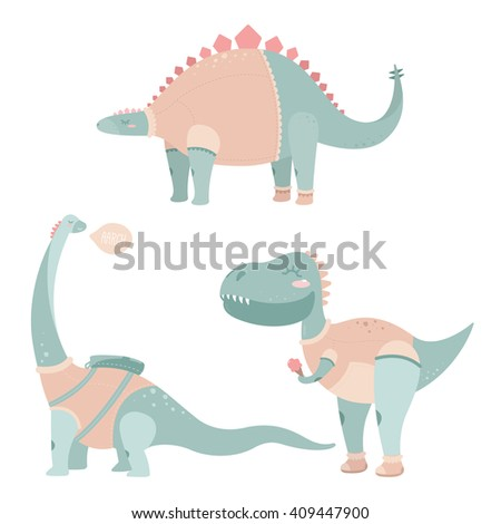 Cute dinosaur for children's posters and postcards - stock photo