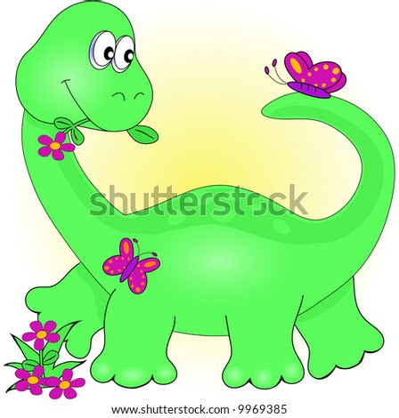 Cute Dinosaur with Flowers and butterflies,Illustration.