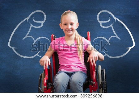 Cute disabled pupil smiling at camera in hall against blue chalkboard - stock photo