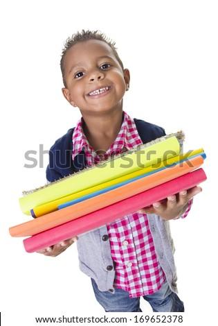 Cute Diverse little student carry school books - stock photo