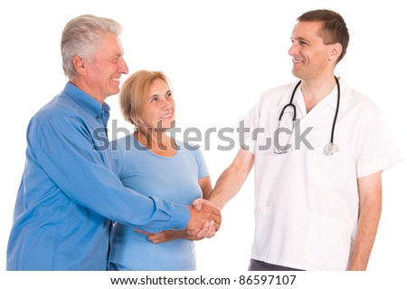cute doctor with old patients on white - stock photo