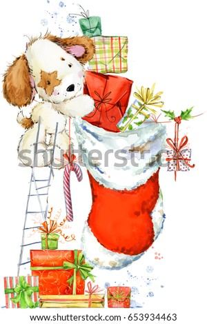 cute dog and Santa's sock watercolor illustration. Background for Christmas. New year greeting card.