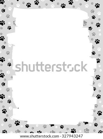Cute dog / cat paw prints border / frame with empty white space onb center