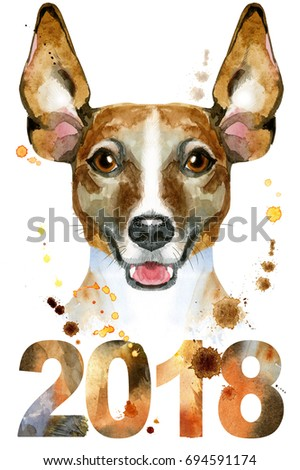 Cute Dog. Dog T-shirt graphics. watercolor jack russell terrier illustration. Symbol of the year 2018