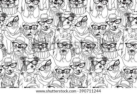 Cute dog fashion hipster black seamless pattern. Black and white illustration.  - stock photo