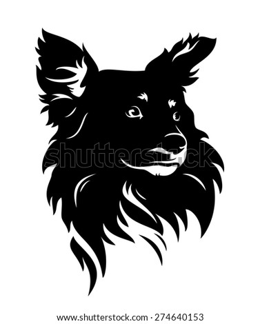 cute dog head - black and white puppy portrait