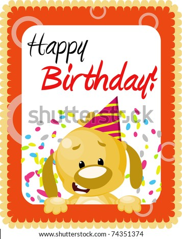Cute doggy birthday greeting card - stock photo