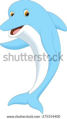 cute dolphin cartoon waving - stock photo
