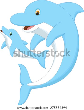 cute dolphin mother and baby - stock photo