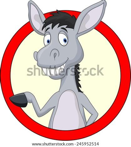 Cute donkey cartoon waving hand - stock photo