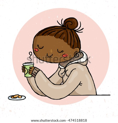 Cute doodle girl with cup of tea and cookies. Illustration of hipster comfort.