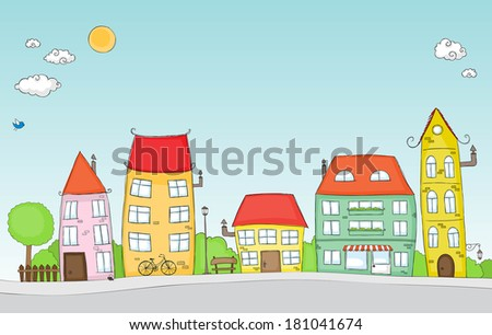 Cute doodle of a colorful cartoon street. For vector format see image no. 180509393 . - stock photo