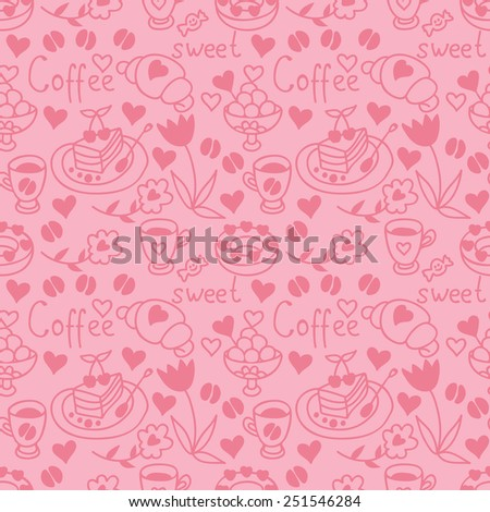 Cute doodle seamless pattern with hearts. Teatime backdrop. Happy Valentine's Day background. - stock photo
