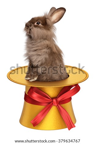 Cute Easter bunny in a golden 3D decoration top hat with red ribbon, isolated on white
