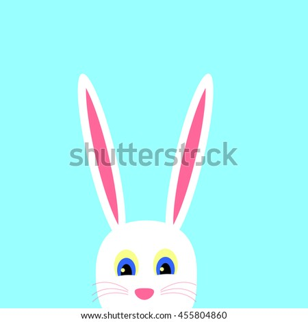 Cute Easter Bunny on a blue background - stock photo