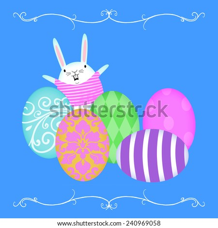 Cute Easter Bunny popping up from behind rows of decorated eggs on a bright blue background - stock photo