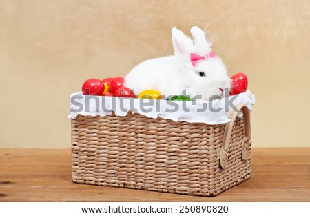 Cute easter bunny sitting in basket with colorful eggs - on golden background - stock photo