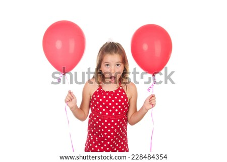 Cute eight year old girl with a red dress and red balloons on a white background
