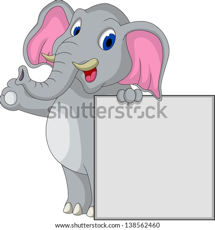 cute elephant cartoon with blank sign - stock photo