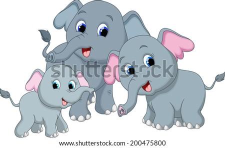 Cute elephant family cartoon - stock photo