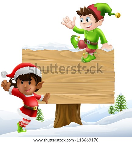 Cute elves one leaning on and one sitting on a Christmas sign in a winter landscape
