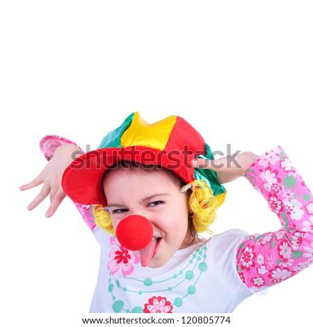 cute emotional kid in the clown cap - stock photo