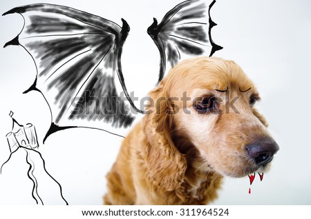 Cute English Cocker Spaniel vampire puppy in front of a white background with bat wings and dracula castle sketch. - stock photo