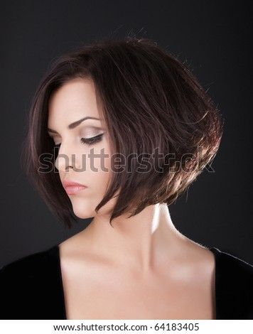 Cute face of young woman - stock photo