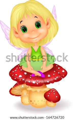 Cute fairy sitting on mushroom - stock photo