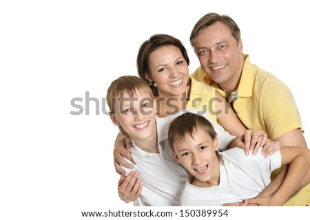 Cute family isolated on white background