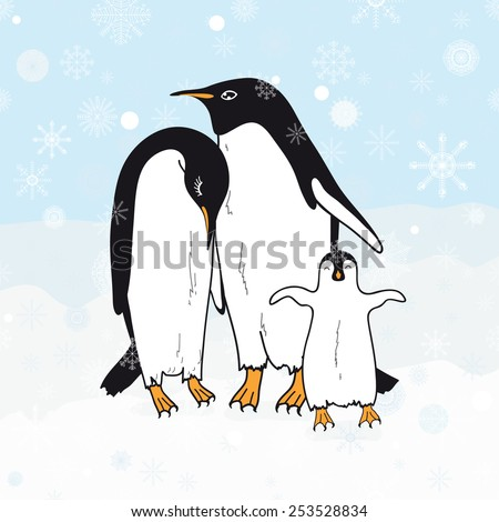 Cute family penguins - stock photo
