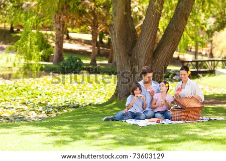 Cute family picnicking in the park - stock photo