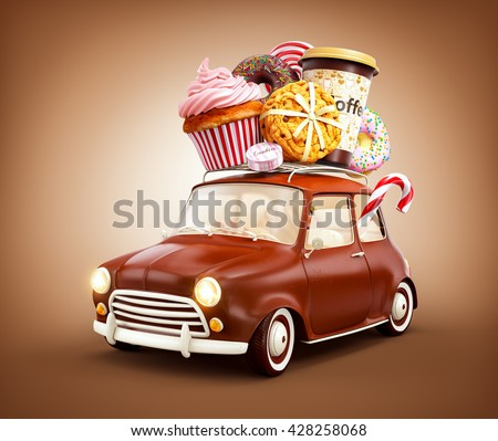 Cute fantastic chocolade car with sweets and coffee on top. 3D Illustration
