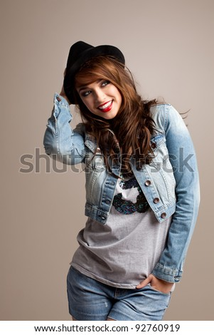 Cute Fashion Model with Black hat - stock photo