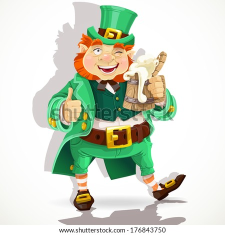 Cute fat Leprechaun with a pot of ale foam. Poster St. Patrick's Day - stock photo