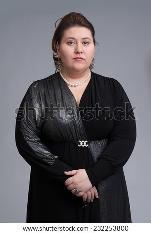 cute fat woman expression. Isolated over gray background