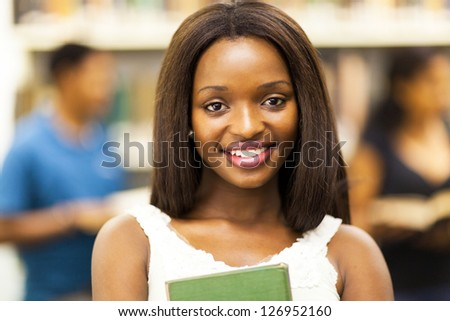 cute female african american college student closeup portrait - stock photo