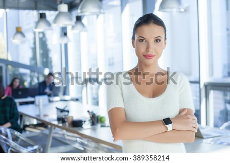 Cute female freelancer is ready to work - stock photo