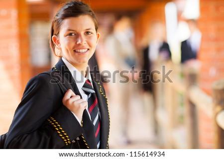 cute female high school student portrait - stock photo