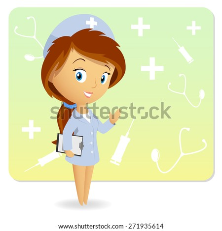 Cute female nurse with tablet notepad chart on background - stock photo