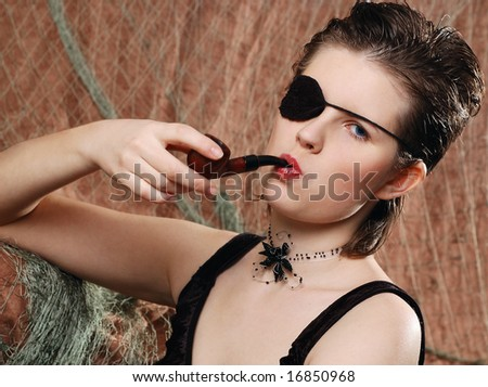 cute female pirate in black dress with a eye patch, smoking a pipe