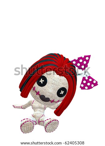 cute female voodoo doll with red hair and skull bow - stock photo