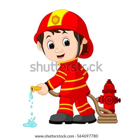 Vector Illustration Cute Fireman Cartoon Stock Vector ...