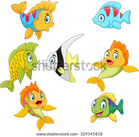 Cute fish collection set isolated on white background