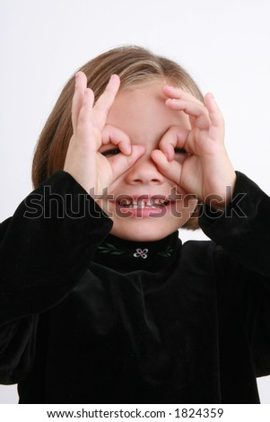 cute five year old girl playing - stock photo