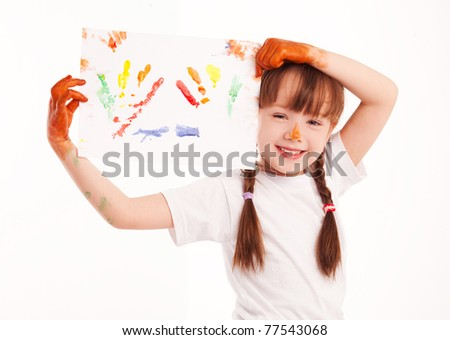 cute five year old girl with a watercolor picture in her hands - stock photo