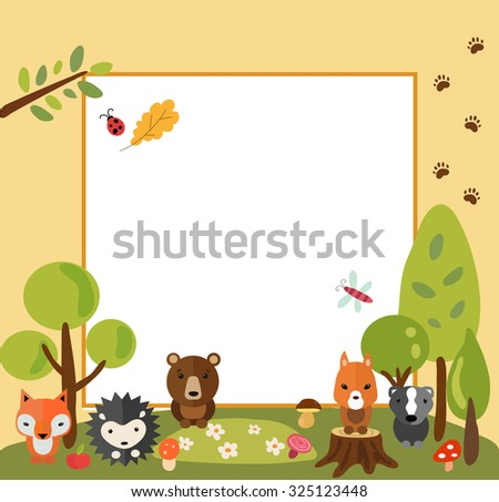 Cute forest animals around emtpy frame. Hedgehog, racoon, fox, bear and squirrel in forest