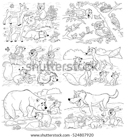 Cute forest animals. Cute deer, raccoon, badger, squirrel, hare, hedgehog, bears, crow, owl, woodpecker, sparrow, foxes, wolf. Illustration for children.  Coloring page. Funny cartoon characters